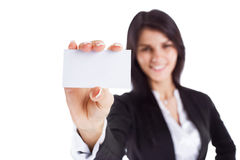 Successful business woman shows business card Royalty Free Stock Images