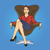 Successful Business Woman Sitting in Luxury Chair. Pop Art. Royalty Free Stock Image