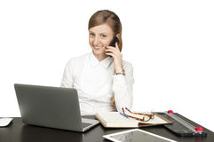 Successful business woman sitting for table Royalty Free Stock Photo