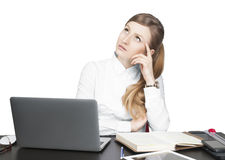 Successful business woman sitting for table Royalty Free Stock Image