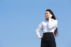 Successful business woman speak phone Royalty Free Stock Photography