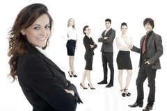 Successful business woman standing with her staff Royalty Free Stock Photos