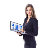Successful business woman, studies the charts Royalty Free Stock Photo