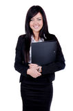 Successful Business woman. Studio shot of a successful business woman holding a file Stock Image