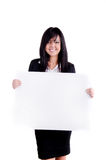 Successful Business woman. Studio shot of a successful business woman holding a sign for copy space Royalty Free Stock Photos