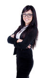 Successful Business woman. Studio shot of a successful business woman wearing nerd glasses Royalty Free Stock Image