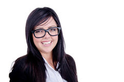 Successful Business woman. Studio shot of a successful business woman wearing nerd glasses smiling Royalty Free Stock Images