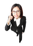 Successful business woman touch eye eyeglasses Stock Image