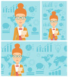 Successful business woman vector illustration. Young successful business woman holding a file in hand while standing with growing chart and a map on a Stock Image