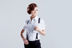 Successful business woman, on white background Stock Photo