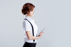 Successful business woman, on white background Stock Photos