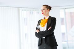 Successful business woman. Young successful business woman smiling and looking in camera Stock Image
