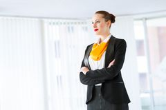 Successful business woman. Young successful business woman smiling and looking in camera Stock Photography
