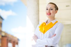 Successful business woman. Young successful business woman smiling and looking in camera Royalty Free Stock Photography