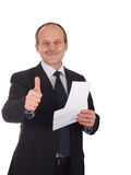 Successful businessman. Smiling happy-isolated on white stock photography