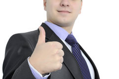 A successful businessman. Businessman gesture shows that he has things well Royalty Free Stock Image