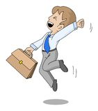 Successful businessman. Cortoon of happy successful businessman stock illustration