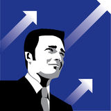 Successful Businessman. Illustrated portrait of a smiling businessman on the backdrop of upward arrows depicting growth and success Royalty Free Stock Image