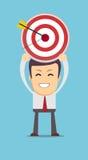 Successful businessman aiming target with arrow. Stock vector illustration Stock Photos