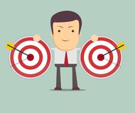 Successful businessman aiming target with arrow Royalty Free Stock Photo