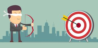 Successful businessman aiming target. With bow and arrow Stock Photography
