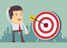 Successful businessman aiming target Royalty Free Stock Photography