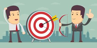 Successful businessman aiming target Stock Photo