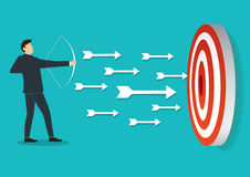 Successful businessman aiming target with bow and arrow. EPS10 Stock Photography