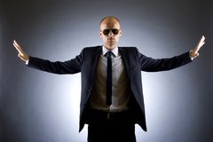 Successful businessman with arms open Stock Images