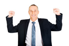 Successful businessman with arms up Stock Image