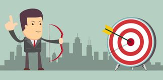 Successful businessman with arrow in the target Royalty Free Stock Image
