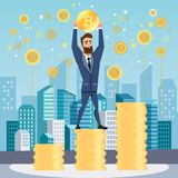 Successful businessman with bitcoin, stands on coins. vector illustration