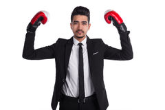 Successful businessman in black suit and red boxing gloves Stock Photos
