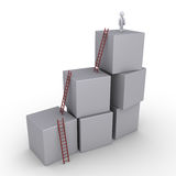 Successful businessman and boxes with ladders. 3d businessman is standing on top of blocks with ladders Royalty Free Stock Photography