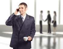 Successful businessman in business center calling  Stock Photography