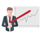 Successful businessman, business situations concept. Working in office, desire to succeed, teamwork and management. Flat vector cartoon illustration isolated Royalty Free Stock Photos