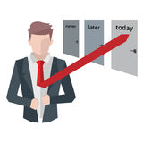 Successful businessman, business situations concept. Working in office, desire to succeed, teamwork and management. Flat vector cartoon illustration isolated Royalty Free Stock Images