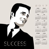 2017 successful businessman calendar. A young, handsome, successful businessman in this 2017 calendar vector illustration