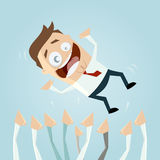Successful businessman is carried by the crowd. Illustration of a successful businessman is carried by the crowd Royalty Free Stock Photography