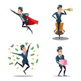 Successful Businessman Cartoons. Super Business Man Flying. Piggy Bank Royalty Free Stock Images