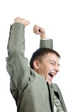 Successful businessman celebrating with arms up Stock Image