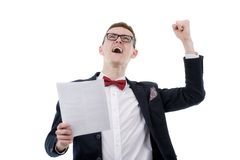 Successful businessman celebrating with arms up - isolated over Stock Photography