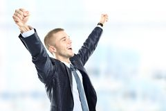 Successful businessman celebrating Stock Image