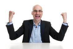 Successful businessman celebrating Stock Photography