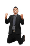 Successful businessman celebrating a win. Royalty Free Stock Images
