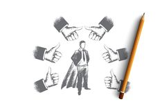 Successful businessman concept. Hand drawn isolated vector. Successful businessman concept. Hand drawn businessman in superhero costume. Person surrounded by Stock Image
