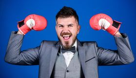 Successful businessman. Criminal defense lawyer planning out strategies. Businessman wear boxing gloves. Best criminal. Defense lawyer strategies. Tactics royalty free stock images