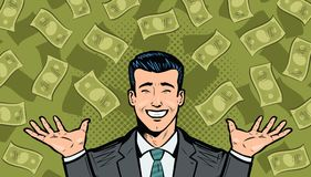 Successful businessman and dollars. Wealth, winning, success or earnings concept. Cartoon in pop art retro comic style. Successful businessman and dollars Royalty Free Stock Photos
