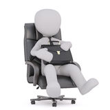 Successful businessman. Faceless cartoon man wearing tie sitting in boss office armchair and holding briefcase on his knees, 3D render isolated on white Stock Photography