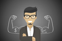 Successful businessman, financial officer, manager, flat design, vector art Royalty Free Stock Image